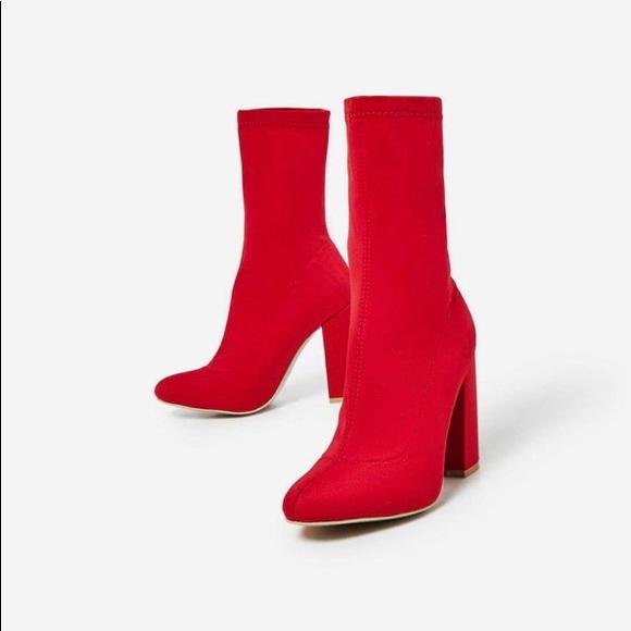 Shoes   Hayden Block Heel Sock Boot In